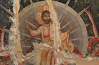 Fresco of Christ in majesty, 1578, by Nikolla Onufri, son of Onufri, in the 13th century Church of St Mary of Blachernae or Kisha e Shen Meri Vllahernes inside Berat Castle or Kalaja e Beratit, in Berat, South-Central Albania, capital of the District of Berat and the County of Berat. Picture by Manuel Cohen