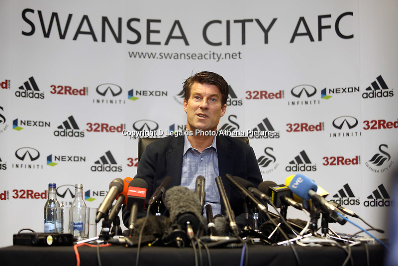 Thursday 21 February 2013<br /> Pictured: Swansea manager Michael Laudrup press conference.<br /> Re: Swansea City FC training and press conference at The Liberty Stadium, ahead of the Capital One Cup final against Bradford which will take place at the Wembley Stadium.