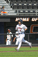 Buies Creek Astros infielder Ryne Birk (4) running the bases during a game against the Winston-Salem Dash at Jim Perry Stadium on the campus of Campbell University on April 9, 2017 in Buies Creek, North Carolina. Buies Creek defeated Winston-Salem 2-0. (Robert Gurganus/Four Seam Images)