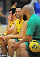 Izayah Mauriohooho-Le'afa wacthes from the Hutt Valley bench during the National Basketball Championships tournament match between Hutt Valley and Waitakere West Guns at Te Rauparaha Arena, Wellington, New Zealand on Friday, 14 November 2014. Photo: Dave Lintott / lintottphoto.co.nz