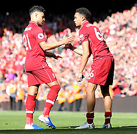 Liverpool's Alex Oxlade-Chamberlain (left) and Trent Alexander-Arnold are left dejected at the final whistle<br /> <br /> Photographer Rich Linley/CameraSport<br /> <br /> The Premier League - Liverpool v Wolverhampton Wanderers - Sunday 12th May 2019 - Anfield - Liverpool<br /> <br /> World Copyright © 2019 CameraSport. All rights reserved. 43 Linden Ave. Countesthorpe. Leicester. England. LE8 5PG - Tel: +44 (0) 116 277 4147 - admin@camerasport.com - www.camerasport.com