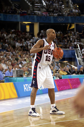 19 August 2004: American small forward Richard Jefferson (USA) in action during the Preliminary Group B Match between the USA and Australia played at the Helliniko Indoor Arena. The USA won the match 89-79. 2004 Olympic Games, Athens, Greece. Photo: Neil Tingle/Action Plus...040819 olympics olympic basketball basket ball