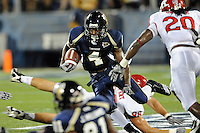 11 September 2010:  FIU wide receiver T.Y. Hilton (4) looks for an opening after pulling in a Wesley Carroll pass in the first quarter as the Rutgers Scarlet Knights defeated the FIU Golden Panthers, 19-14, at FIU Stadium in Miami, Florida.