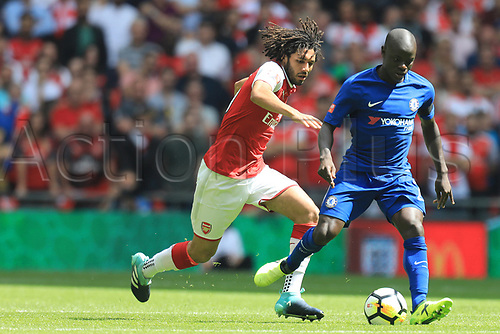 August 6th 2017, Wembley Stadium, London, England; FA Community Shield Final; Arsenal versus Chelsea; Mohamed Elneny of Arsenal closes down Ngolo Kante of Chelsea