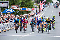 Danny Van Poppel (NED/Lotto NL-Jumbo) wins the close sprint before  Fabio Jakobsen (NED/Quick Step Floors) and Sean De Bie (BEL/Veranda's WIllems Crelan)<br /> <br /> 71th Halle Ingooigem 2018 (1.1)<br /> 1 Day Race: Halle > Ingooigem (197.7km)