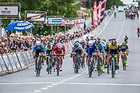 Danny Van Poppel (NED/Lotto NL-Jumbo) wins the close sprint before  Fabio Jakobsen (NED/Quick Step Floors) and Sean De Bie (BEL/Veranda's WIllems Crelan)<br /> <br /> 71th Halle Ingooigem 2018 (1.1)<br /> 1 Day Race: Halle &gt; Ingooigem (197.7km)