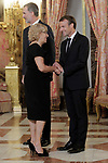 King Felipe VI of Spain (l), receives in the Royal Palace the President of the French Republic Emmanuel Macron (r) in presence of Mayor of the Madrid city Manuela Carmena. July 26,2018. (ALTERPHOTOS/Acero)
