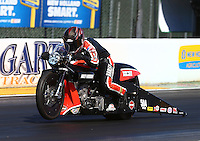 Jul. 25, 2014; Sonoma, CA, USA; NHRA pro stock motorcycle rider Andrew Hines during qualifying for the Sonoma Nationals at Sonoma Raceway. Mandatory Credit: Mark J. Rebilas-