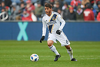 Bridgeview, IL - Saturday April 14, 2018: Jonathan dos Santos during a regular season Major League Soccer (MLS) match between the Chicago Fire and the LA Galaxy at Toyota Park.  The LA Galaxy defeated the Chicago Fire by the score of 1-0.