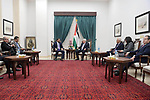 Palestinian President Mahmoud Abbas meets with Jordanian Minister of Industry, Tariq Hamouri, in the West Bank city of Ramallah on October 3, 2018. Photo by Thaer Ganaim