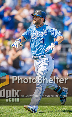 25 August 2013: Kansas City Royals outfielder Alex Gordon returns to the dugout after scoring against the Washington Nationals at Kauffman Stadium in Kansas City, MO. The Royals defeated the Nationals 6-4, to take the final game of their 3-game inter-league series. Mandatory Credit: Ed Wolfstein Photo *** RAW (NEF) Image File Available ***
