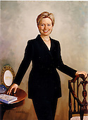 "Hillary Rodham Clinton was painted by Simmie Knox in 2003 from sittings in the Clinton home in Washington, D.C.  Her left hand rests on the back of an early-nineteenth-century armchair from the White House collection.  Her right hand touches a table exhibiting a service plate from the Clinton state china service; a copy of Mrs. Clinton's 1996 book, ""It Takes A Village: And Other Lessons Children Teach Us""; and a piece from a hand-blown glass basket set by American artist Dale Chihuly.  These items symbolize the White House, Mrs. Clinton's work with children, and her involvement in the arts.  The portrait was unveiled at a ceremony the White House in Washington, D.C. on June 14, 2004.  .Credit: Ron Sachs / CNP"