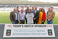 Lee Trundle with match sponsors during the Premier League game between Swansea City v Chelsea at the Liberty Stadium, Swansea, Wales, UK. Saturday 28 April 2018