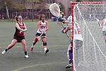 Santa Barbara, CA 02/18/12 - Maggie Burke (Santa Clara #7), C.C Zonino (Arizona #18) and Kelsey Anderson (Arizona #21) in action during the Santa Clara-Arizona game at the 2012 Santa Barbara Shootout.  Santa Clara defeated Arizona 18-9.