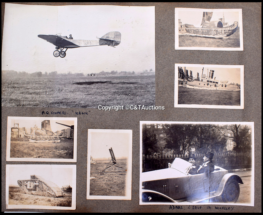 BNPS.co.uk (01202 558833)<br /> Pic: C&TAuctions/BNPS<br /> <br /> Unusual targets, Carey dressed in top hat in a Wolseley and a Hawk aircraft.<br /> <br /> A fascinating photo album which documents the adventures of a captain in the fledgling Royal Naval Air Service has been unearthed after 100 years.<br /> <br /> The photos were compiled by Captain Denis Carey who was based in Maidstone, Kent, and they provide a fascinating insight into the air arm of the Royal Navy during the First World War.<br /> <br /> They show the thrills and spills of the pioneering early days of aviation in a world before health and safety had been invented.