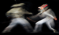 Aug. 9, 2008; Beijing, CHINA; Sofiya Velikaya (RUS), right, battles Sada Jacobson (USA) during the womens fencing individual sabre semi final at the Fencing Hall in the 2008 Beijing Olympic Games. Mandatory Credit: Mark J. Rebilas-