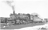 3/4 front fireman side view of K-36 #486 with flanger.<br /> D&amp;RGW  Gunnison, CO  Taken by Richardson, Robert W. - 3/29/1952