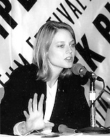 Jodie Foster winner of Academy Award for Best Actress for her role in The Accused, portraying the story of gang rape in New Bedford at the Boston Film Festival, Boston MA September 16, 1991