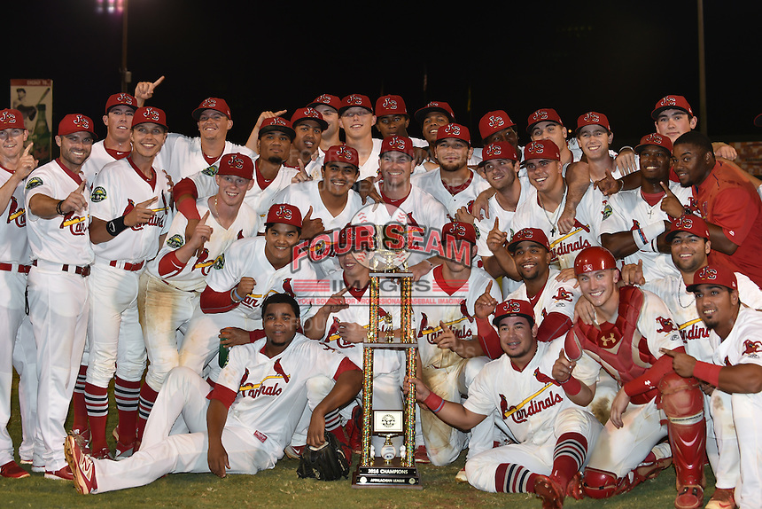 Johnson City Cardinals pose with the Championship Trophy to Johnson City Cardinals after Game Two of the Appalachian League Championship series against the Burlington Royals at TVA Credit Union Ballpark on September 7, 2016 in Johnson City, Tennessee. The Cardinals defeated the Royals 11-6 to win the series 2-0.. (Tony Farlow/Four Seam Images)