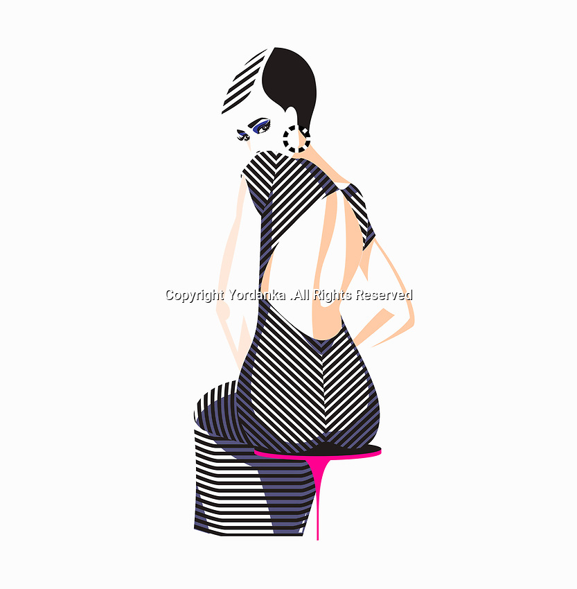 Rear view of beautiful woman wearing tight black and white striped dress