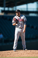 Peoria Javelinas relief pitcher Thomas Burrows (17), of the Atlanta Braves organization, looks in for the sign during an Arizona Fall League game against the Mesa Solar Sox at Sloan Park on November 6, 2018 in Mesa, Arizona. Mesa defeated Peoria 7-5 . (Zachary Lucy/Four Seam Images)