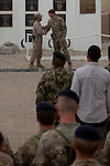 Mcc0053988 . Daily Telegraph<br /> <br /> DT News<br /> <br /> Cmdr Gen RC South West Brigadier General Yoo(left) shakes hands with Cmdr TFH Brigadier Woodham at the official handover ceremony which took place in Camp Bastion of Task Force Helmand to Nato command signalling the end of British combat operations in Afghanistan .<br /> <br /> Helmand 30 March 2014