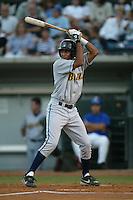 Gabriel Martinez of the Bakersfield Blaze bats during a 2004 season California League game against the Rancho Cucamonga Quakes in Rancho Cucamonga, California. (Larry Goren/Four Seam Images)