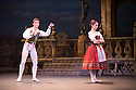 London, UK. 22.07.2014. English National Ballet in rehearsals of Coppelia at the London Coliseum. Swanilda is danced by Erina Takahashi, Franz by Fernando Bufala and Dr Coppelius by Daniel Kraus. Photograph © Jane Hobson.