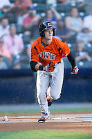 Mike Yastrzemski (4) of the Bowie Baysox hustles down the first base line against the Richmond Flying Squirrels at The Diamond on May 23, 2015 in Richmond, Virginia.  The Baysox defeated the Flying Squirrels 3-2.  (Brian Westerholt/Four Seam Images)