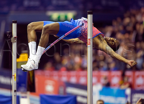 February 18th 2017,  Birmingham, Midlands, England; IAAF The Müller Indoor Grand Prix Athletics meeting; Erik Kynard (USA) competing in the final of the Men's High Jump
