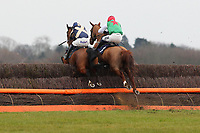Race winner Denali Highway ridden by Andrew Thornton (R) and Sir Frank ridden by Kieron Edgar in jumping action in the John Bigg Oxo Handicap Chase