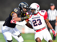 Baltimore, MD - OCT 14, 2017: Towson Tigers tight end Joe Green (42) blocks Richmond Spiders defensive back Daniel Jones (23) during game between Towson and Richmond at Johnny Unitas Stadium in Baltimore, MD. The Spiders defeated the Tigers 23-3. (Photo by Phil Peters/Media Images International)