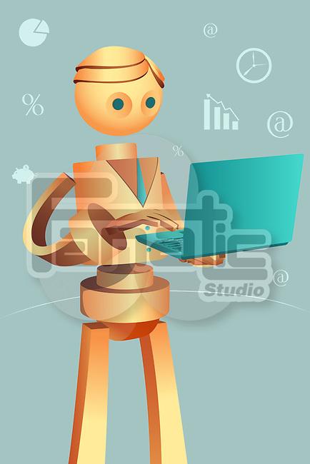 Illustration of robotic businessman using laptop