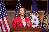 Democratic Leader Nancy Pelosi, Democrat of California, speaks with reporters during her weekly press conference on Capitol Hill in Washington, DC on June 7, 2018. <br /> CAP/MPI/RS<br /> &copy;RS/MPI/Capital Pictures