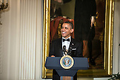 United States President Barack Obama delivers remarks at the Kennedy Center Honors reception at the White House on December 2, 2012 in Washington, DC. The Kennedy Center Honors recognized seven individuals - Buddy Guy, Dustin Hoffman, David Letterman, Natalia Makarova, John Paul Jones, Jimmy Page, and Robert Plant - for their lifetime contributions to American culture through the performing arts. .Credit: Brendan Hoffman / Pool via CNP