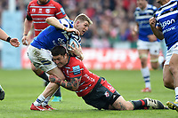 Ruaridh McConnochie of Bath Rugby is tackled by Matt Banahan of Gloucester Rugby. Gallagher Premiership match, between Gloucester Rugby and Bath Rugby on April 13, 2019 at Kingsholm Stadium in Gloucester, England. Photo by: Patrick Khachfe / Onside Images