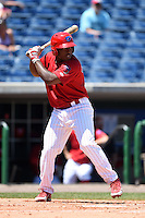 Clearwater Threshers designated hitter Willie Carmona (23) during a game against the Tampa Yankees on April 9, 2014 at Bright House Field in Clearwater, Florida.  Tampa defeated Clearwater 5-3.  (Mike Janes/Four Seam Images)