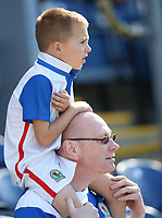 A young Blackburn Rovers fan watches the match from his dad's shoulders<br /> <br /> Photographer Stephen White/CameraSport<br /> <br /> The EFL Sky Bet League One - Blackburn Rovers v Doncaster Rovers - Saturday August 12th 2017 - Ewood Park - Blackburn<br /> <br /> World Copyright &copy; 2017 CameraSport. All rights reserved. 43 Linden Ave. Countesthorpe. Leicester. England. LE8 5PG - Tel: +44 (0) 116 277 4147 - admin@camerasport.com - www.camerasport.com