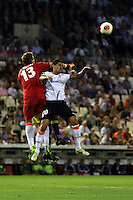 Valencia, Spain. Thursday 19 September 2013<br /> Pictured L-R: Valencia goalkeeper Vicente Guaita and Ricardo Costa get the ball away while challneged by Wilfried Bony of Swansea (behind them. <br /> Re: UEFA Europa League game against Valencia C.F v Swansea City FC, at the Estadio Mestalla, Spain,