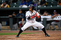 Randy Ventura (11) from the Rome Braves of the South team bats during the South Atlantic League All-Star Game on Tuesday, June 20, 2017, at Spirit Communications Park in Columbia, South Carolina. The game was suspended due to rain after seven innings tied, 3-3. (Tom Priddy/Four Seam Images)