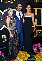 LOS ANGELES, CA. September 17, 2018: Emilia Clarke, Jacob Anderson &amp; Nathalie Emmanuel at The HBO Emmy Party at the Pacific Design Centre.<br /> Picture: Paul Smith/Featureflash