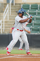 William Carmona (23) of the Lakewood BlueClaws at bat against the Kannapolis Intimidators at CMC-Northeast Stadium on August 14, 2013 in Kannapolis, North Carolina.  The Intimidators defeated the BlueClaws 10-2.  (Brian Westerholt/Four Seam Images)