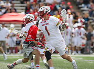 College Park, MD - April 22, 2018: Maryland Terrapins Connor Kelly (1) in action during game between Ohio St. and Maryland at  Capital One Field at Maryland Stadium in College Park, MD.  (Photo by Elliott Brown/Media Images International)