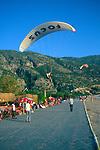 Paraglider landing Olu Deniz, Fethiye, Turkey