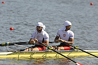 Poznan, POLAND,   EGY M2X, at the start before competing in the heats of the men's double sculls, on the first day of the, 2009 FISA World Rowing Championships. held on the Malta Rowing lake, Sunday 23/08/2009 [Mandatory Credit. Peter Spurrier/Intersport Images]