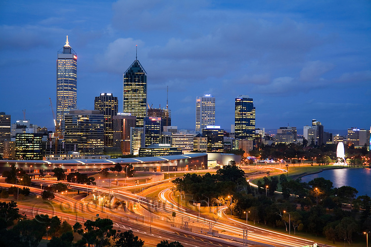 Dusk view of Perth from Kings Park.  Perth, Western Australia, AUSTRALIA.