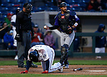 Reno Aces' Domingo Leyba fouls a ball off his leg during an at bat against the Albuquerque Isotopes in Reno, Nev., on Tuesday, April 9, 2019.  The Aces won 4-2. <br /> Photo by Cathleen Allison/Nevada Momentum