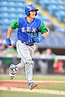Lexington Legends Chris Hudgins (15) runs to first base during a game against the Asheville Tourists at McCormick Field on July 1, 2019 in Asheville, North Carolina. The Tourists defeated the Legends 9-8. (Tony Farlow/Four Seam Images)