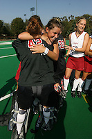 6 November 2007: Stanford Cardinal Rachel Mozenter (facing) and Alessandra Moss (42) during Stanford's 1-0 win against the Lock Haven Lady Eagles in an NCAA play-in game to advance to the NCAA tournament at the Varsity Field Hockey Turf in Stanford, CA.