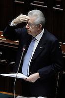 Il Presidente del Consiglio Mario Monti.Roma 25/01/2012 Voto alla Camera dei Deputati per la mozione unitaria sulla politica europea dell'Italia.Foto Insidefoto Serena Cremaschi